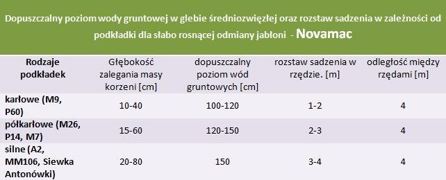 Jabłoń Novamac - rozstaw sadzenia i poziom wod gruntowych.