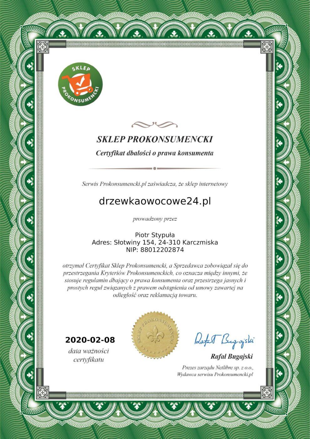 Certyfikat sklepu prokonsumenckiego